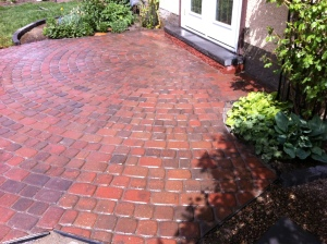 small patio after finishing by reuse old cobblestones