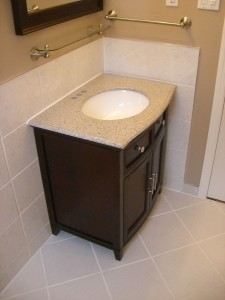 free standing Vanity with tiles around