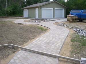 Walkway in future backyard in Cobblestone