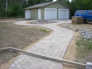 Walkway in future backyard in Cobblestone