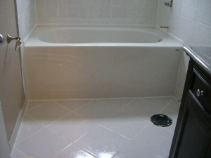 diagonal installed floor tile work