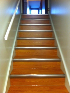 Laminat staircase with metal edging