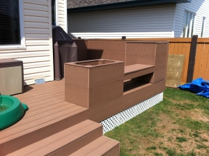 Deck with Composite Decking, Platers and Benches
