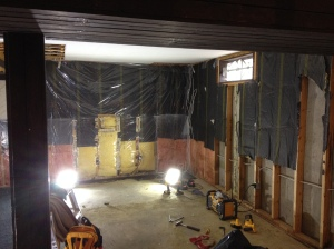 everything will be removed to the bare studs installation of new insulation and new vapor barrier
